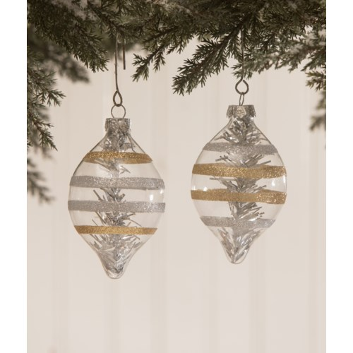 Platinum & Gold Striped Glass Ornament 2A