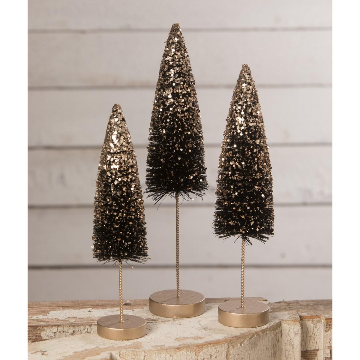 Black Bottle Brush Trees With Gold Glitter S3