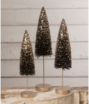 Black Bottle Brush Trees With Gold Glitter S/3