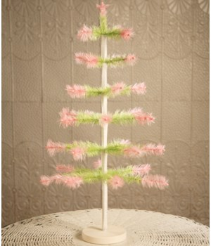 """Feather Tree Green With Pink 24"""""""