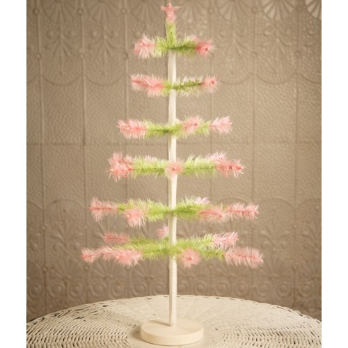 Feather Tree Green With Pink 24""
