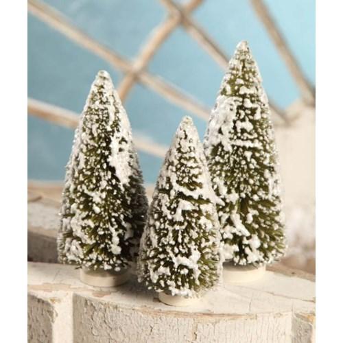 Olive Green Bottle Brush Trees Medium S/3