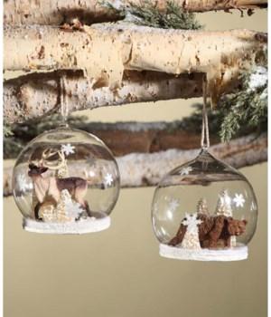 Woodland Snow Globe Ornament Large 2/A