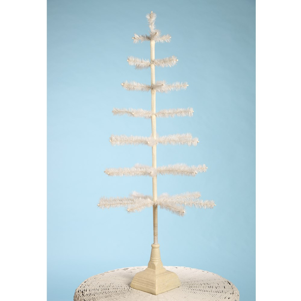 """Feather Tree Ivory With Glittered Base 42"""""""