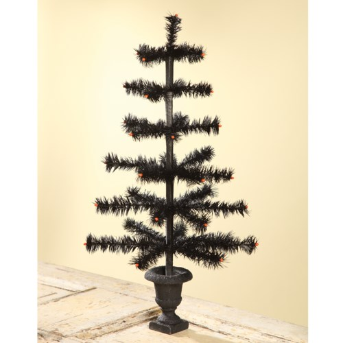Feather Tree Black In Urn Base 26""