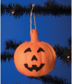 Felted Jack O' Lantern Ornament