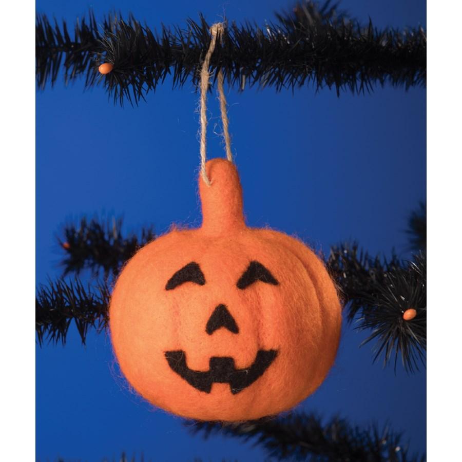 Felted Jack O' Lantern Ornament