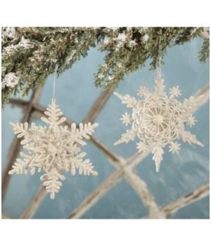 Platinum Glittered Layered Snowflake Ornament 2/A