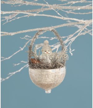 Snowman in Mercury Glass Nest Ornament
