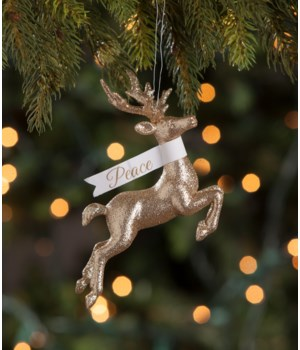 Peaceful Stag Glitter Ornament