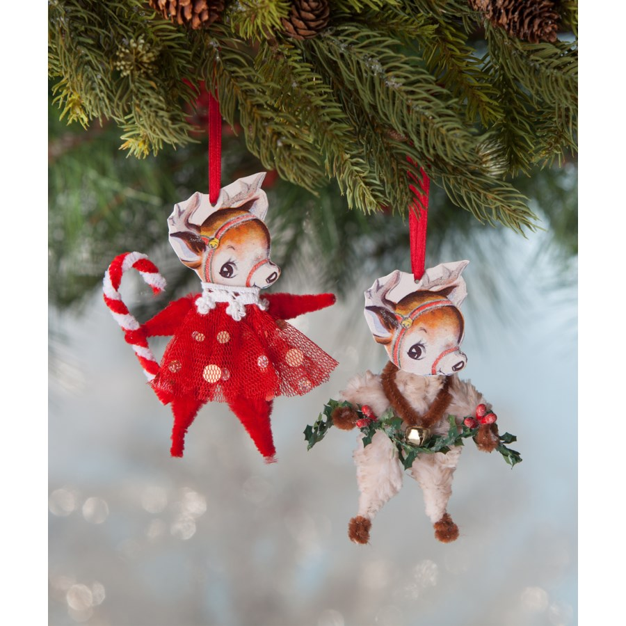 Chenille Reindeer Ornament 2/A