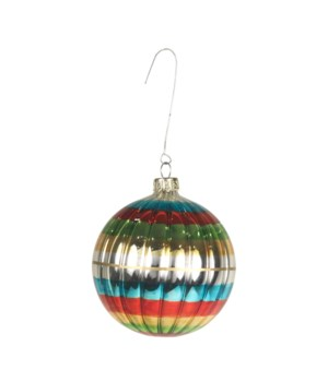 Merry & Bright Ribbed Ball Ornament
