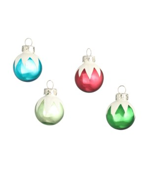 Merry & Bright Frosted Top Ornament S/12