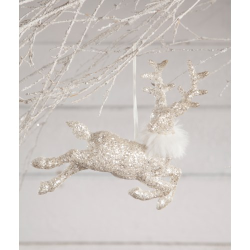 Winter Glitter Stag Ornament Large