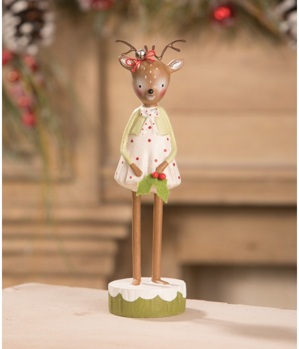 Reindeer Girl with Holly