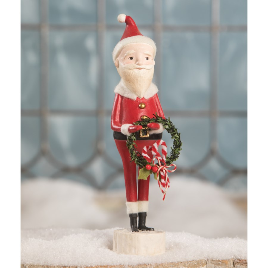 Candy Cane Santa With Wreath