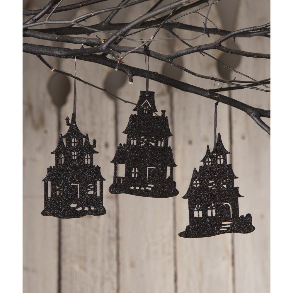 Haunted House Silhouette Ornament 3A