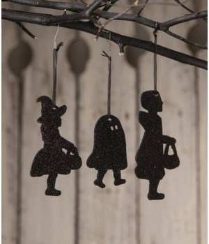 Trick or Treat Children Silhouette Ornament 3A