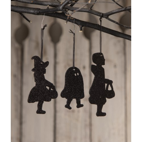 Trick or Treat Children Silhouette Ornament 3A