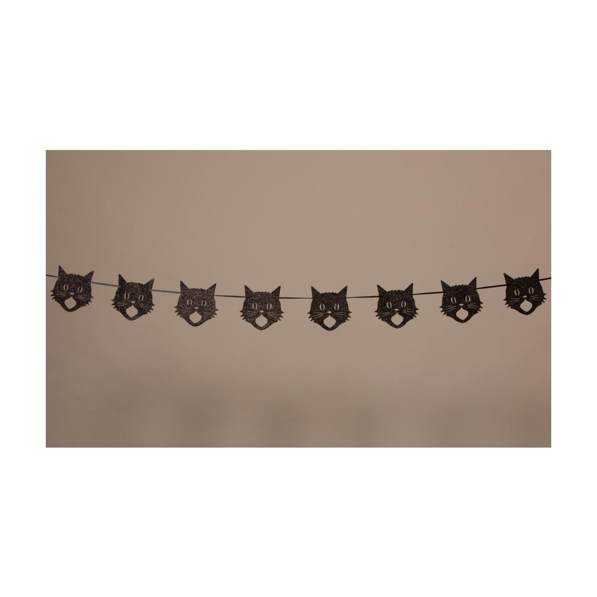 Glittered Scaredy Cat Silhouette Garland