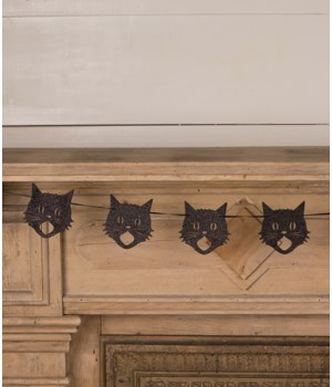 Glittered Scaredy Cat Silhouette Garland