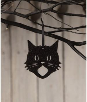 Glittered Scaredy Cat Silhouette Ornament