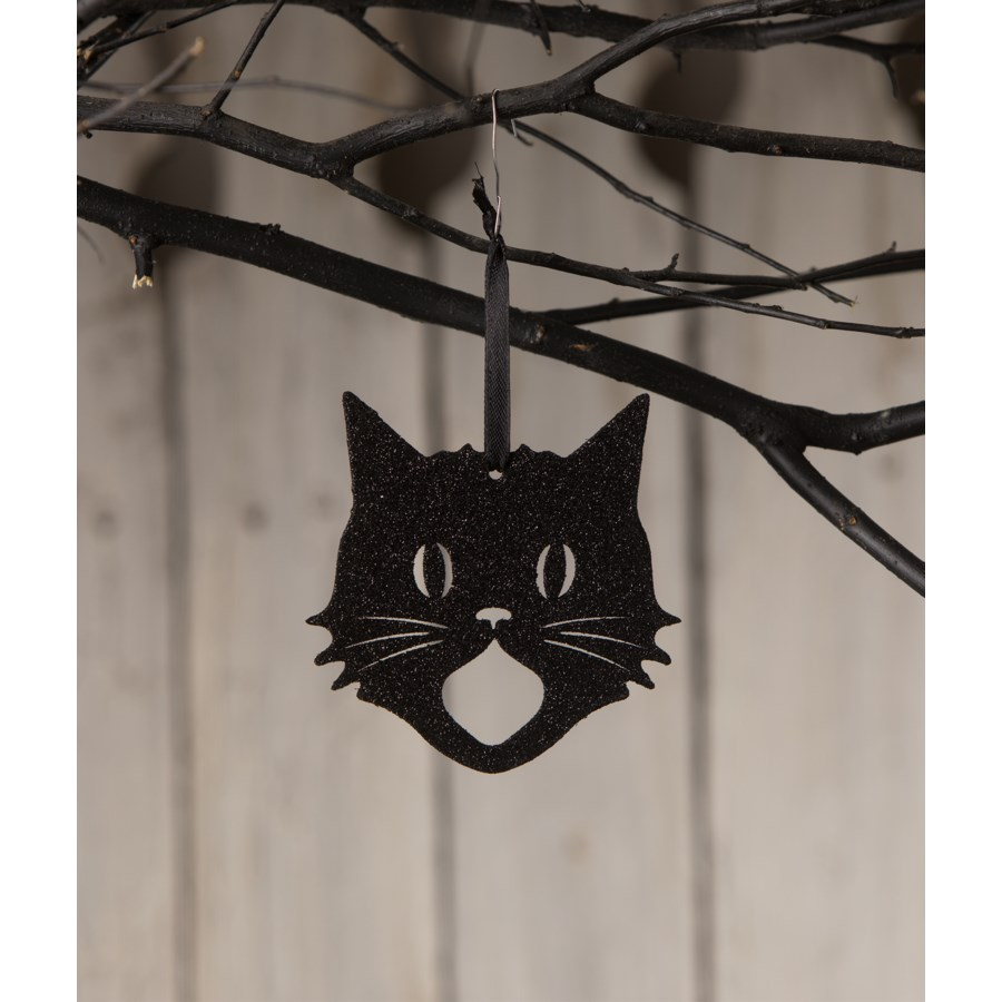 Glittered Scaredy Cat Silhouette Ornament