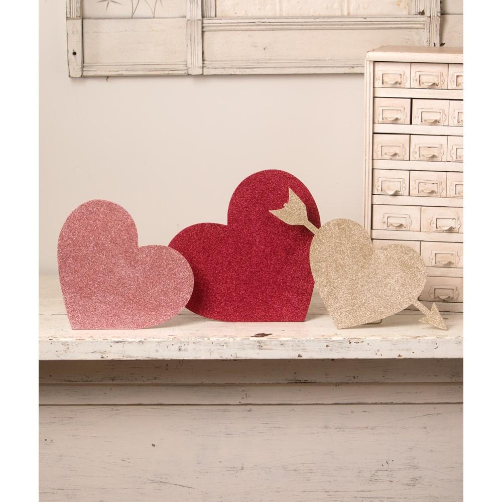 Valentine Glittered Standing Hearts S3