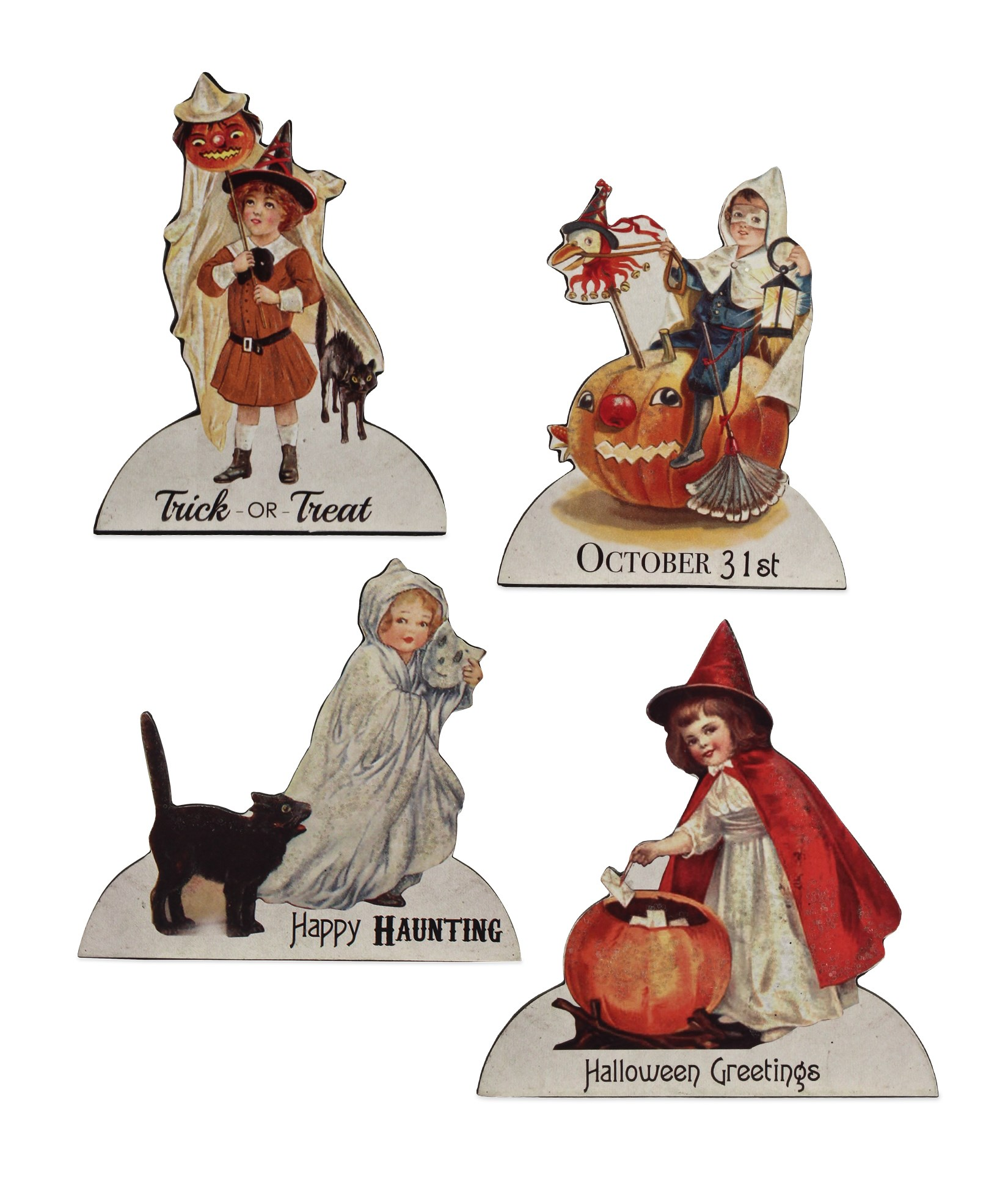cat trick or treat item# 31 Paper doll Vintage Halloween ornaments