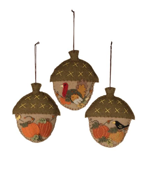Fall Acorn Applique Ornament 3A