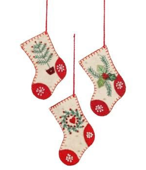 Applique Vintage Stocking Mini Ornament 3/A