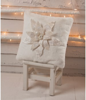 Winter White Poinsettia Pillow