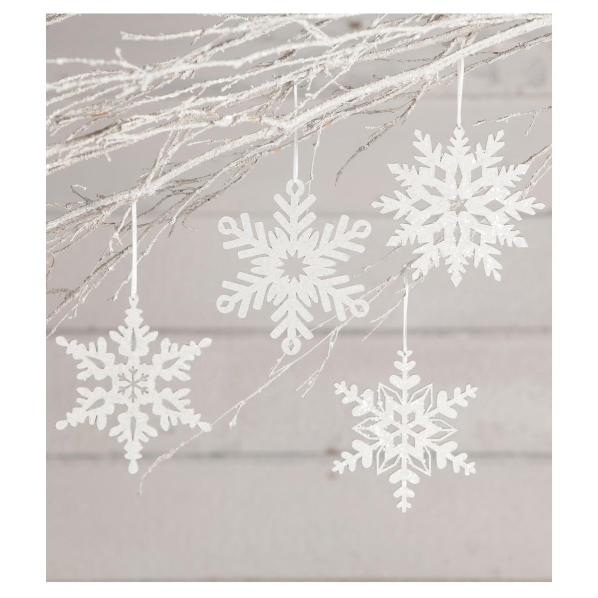 Winter Glittered Snowflake Ornament 4A