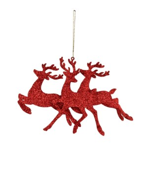 Three Stags Ornament Red