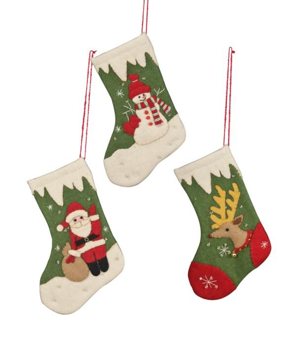 Applique Retro Stocking Mini Ornament 3A
