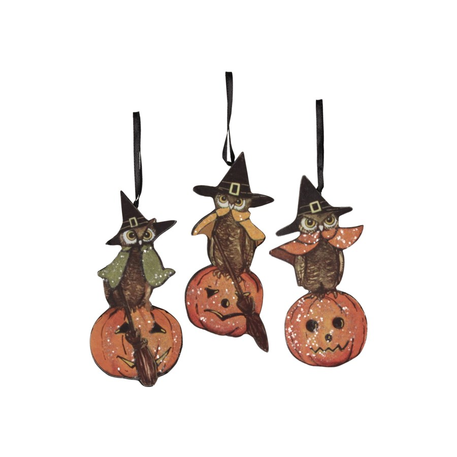 Halloween Owl Dummy Board Ornament 3/A
