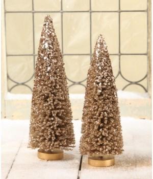 Elegant Bronze Bottle Brush Trees S/2