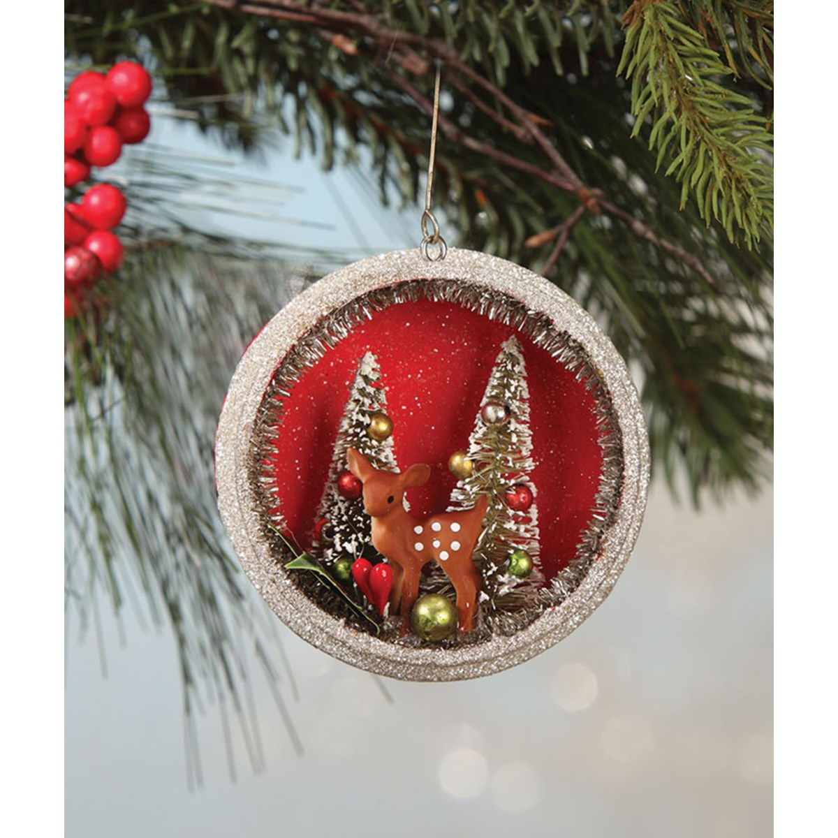 Traditional Fawn Glass Ornament
