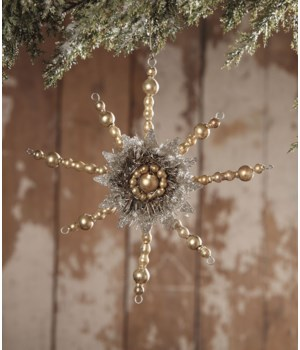 Gold Bead Snowflake With Tin Ornament