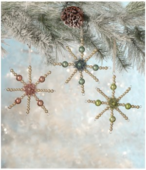 Pastel Bead Starburst Ornament 3/A