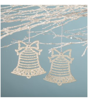Platinum Glitter Bell Ornament S/2