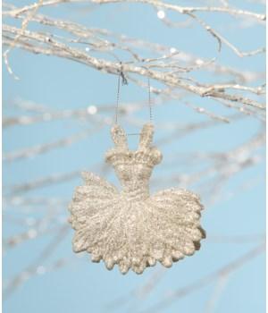 Platinum Ballerina Dress Ornament