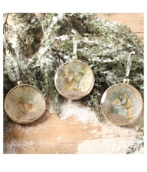 Peaceful Xmas Glass Disc Ornament 3/A