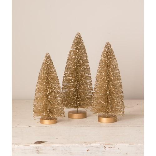 Old Gold Bottle Brush Trees S/3