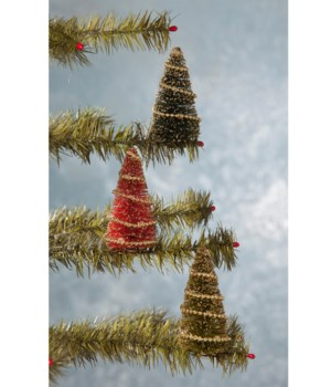 Bottle Brush Tree Clip Ornament S/3