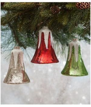 Large Traditional Mercury Glass Bell Ornament 3/A
