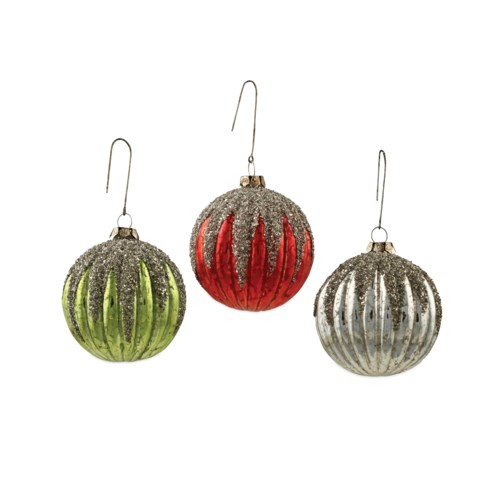Vintage Mercury Glass Ribbed Ornament 3/A