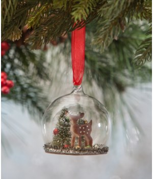Fawn and Beads in Globe Ornament
