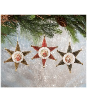 Traditional Bottle Brush Star Ornament 3/A