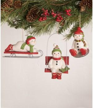 Cheerful Snowman Ornament 3/A